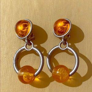 Silver and Orange Vintage Earrings